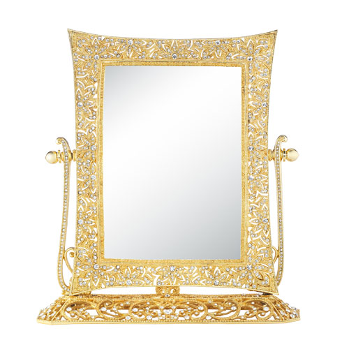 MR1738 GOLD WINDSOR MAGNIFIED STANDING MIRROR