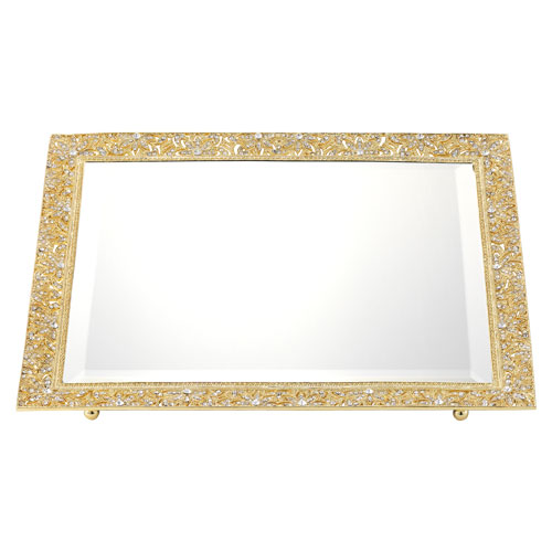 VT2739 GOLD WINDSOR BEVELED MIRROR TRAY