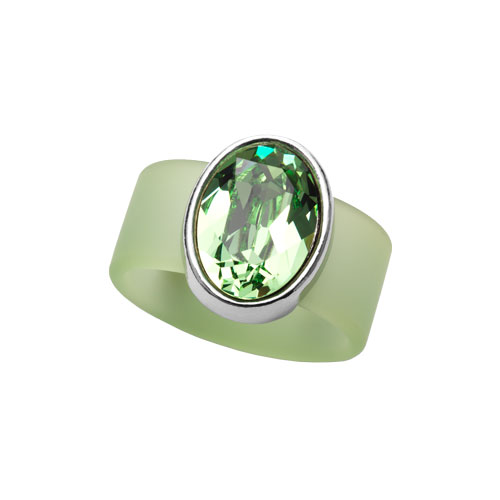 RR0910-LG PERIDOT SWAROVSKI® CRYSTAL ON LIGHT GREEN RUBBER BAND RING - LARGE