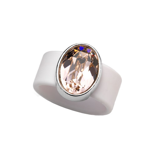 RR1110-MD VINTAGE ROSE SWAROVSKI® CRYSTAL ON CHAMPAGNE RUBBER BAND RING - MEDIUM