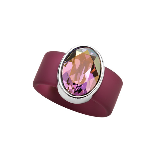 RR1210-SM AMETHYST SWAROVSKI® CRYSTAL ON PLUM RUBBER BAND RING - SMALL