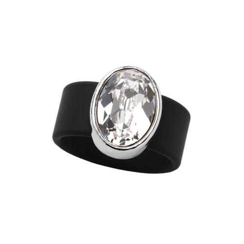 RR0210-LG CLEAR SWAROVSKI® CRYSTAL ON BLACK RUBBER BAND RING - LARGE